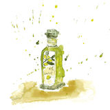 Watercolor olive oil Stock Photography
