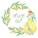 Watercolor olive oil frame Stock Image