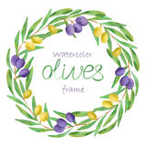 Watercolor olive oil frame Stock Images