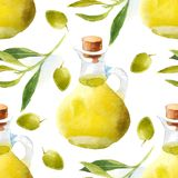 Watercolor olive oil pattern Royalty Free Stock Image