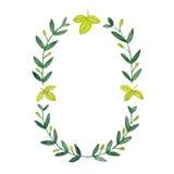 Watercolor olive wreath.  illustration  Stock Photo