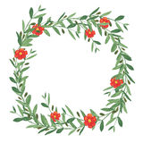 Watercolor olive wreath with red flower. Stock Images