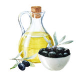 Watercolor olives and olive oil royalty free illustration