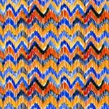 Watercolor orange and blue ikat vibrant seamless pattern. Trendy tribal pattern in watercolour style. Peacock feather. Watercolor orange and blue ikat vibrant stock illustration