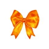 Watercolor orange bow background symbol. Hand painted illustration. Stock Image