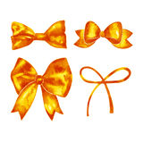 Watercolor orange bow set. Hand painted illustration. Stock Photography