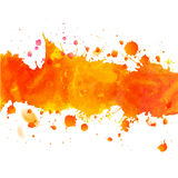 Watercolor orange drawing tape with splashes. Watercolor orange watercolor drawing tape with splashes. Decorative paper design. Abstract autumn season vector Royalty Free Stock Images