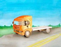 Watercolor orange empty  flatbed rides a load on the asphalt road. Background of daytime summer landscape. Watercolor orange empty flatbed rides a load on the vector illustration