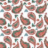 Watercolor Orange And Green Paisley Seamless Pattern Royalty Free Stock Image