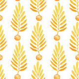 Watercolor orange leaves seamless pattern. Bright paint background. Can be used for wrapping paper and fabric design. Royalty Free Stock Photo