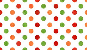 Watercolor orange, red and green polka dot background. Stock Image