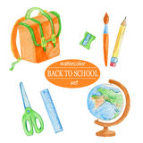 Watercolor orange school supplies Royalty Free Stock Photography