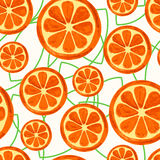 Watercolor orange slices with green leaves, seamless background. Stock Photo