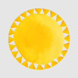 Watercolor orange spots and sun - illustration Stock Photo