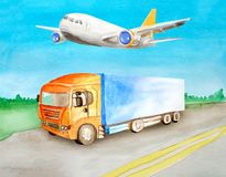 Watercolor orange truck with a blue body  carries cargo on an asphalt road against the background of the daytime summer landscape vector illustration