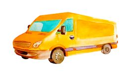 Watercolor orange van truck with gray wheels isolated on white background for postcards, business and children's cards,. Illustration of cargo transport royalty free stock photography