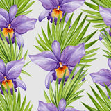 Watercolor orchid flower and palm leaves seamless pattern. Stock Photography