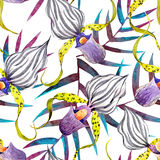 Watercolor orchid flowers tropical pattern vector illustration