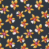 Watercolor orchid flowers tropical pattern stock illustration
