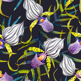 Watercolor orchid flowers tropical vector pattern stock illustration