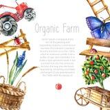 Watercolor organic farm. vector illustration