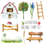 Watercolor organic farm. Royalty Free Stock Image
