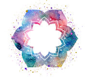 Watercolor oriental flower frame Royalty Free Stock Images