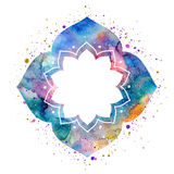 Watercolor oriental flower frame Royalty Free Stock Photo