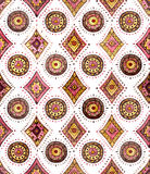 Watercolor Oriental Repeat Pattern with Geometric Elements Royalty Free Stock Photography