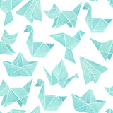 Watercolor origami seamless pattern. On white background Stock Image