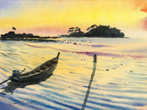 Watercolor original landscape painting colorful of fishing boat. Seascape, sky and yellow background royalty free illustration