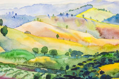 Watercolor original Landscape painting colorful of mountain and emotion. In blue background Royalty Free Stock Image