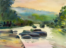 Watercolor original landscape painting colorful of mountain river stone royalty free illustration