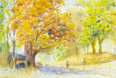 Watercolor original  landscape painting golden tree flowers Royalty Free Stock Photography