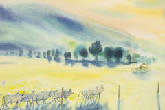 Watercolor original landscape painting many herds of cow Royalty Free Stock Photo