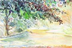 Watercolor original landscape painting  river and green tree Stock Photos