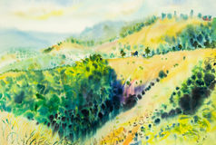Watercolor original landscape painting yellow color of  mountain Stock Photo