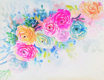 Watercolor original painting colorful of rose pattern. And emotion in white background Stock Illustration