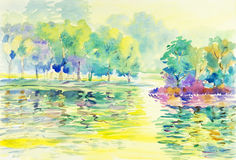 Watercolor original painting landscape colorful, illustration reservoir forest and emotion Royalty Free Stock Photos