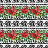 Watercolor ornament with nordic traditional elements. Watercolor ornament with poinsettia flowers and nordic traditional elements. Seamless pattern with hand Royalty Free Stock Photos