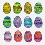 Watercolor ornamental Easter eggs set Stock Image