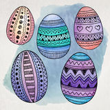 Watercolor ornamental Easter eggs set Stock Photos