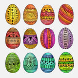 Watercolor ornamental Easter eggs set Royalty Free Stock Photo