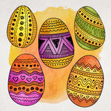 Watercolor ornamental Easter eggs set Stock Photo
