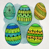 Watercolor ornamental Easter eggs set Royalty Free Stock Photography
