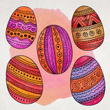 Watercolor ornamental Easter eggs set Royalty Free Stock Images