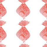 Watercolor ornamental fish pattern. Royalty Free Stock Images