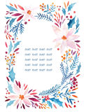 Watercolor ornate flowers, holly, seeds, fir-tree twigs wreath stock illustration