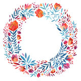 Watercolor ornate flowers wreath vector illustration