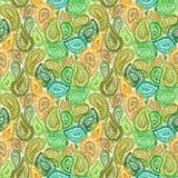 Watercolor ornate paisley floral seamless textile wallpaper patt Royalty Free Stock Photos